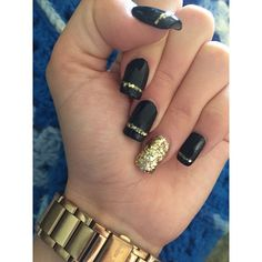 Gold nails ❤ liked on Polyvore featuring beauty products, nail care and nail treatments