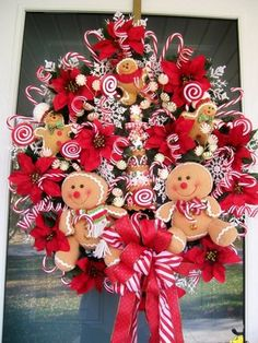 Candyland Gingerbread Candy Cane Lollipop Peppermint Christmas Tree Wreath