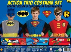 DC Comics Boys Action Trio Superhero Costume Set  Great for your little super hero