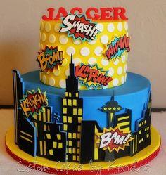 Sunday Sweets For Dad — Cake Wrecks Superhero Cake, Superhero Birthday Party, 4th Birthday, Superhero Cartoon, Birthday Parties, Anniversaire Wonder Woman, Bolo Snoopy, Bolo Lego, Comic Party