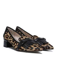 A kiltie and buckled-strap detail bring edge to a classy loafer heel. Fabric or Brahma hair upper. Slip-on fit. Metal detail at heel. Black Loafer Shoes, Shoes Heels Pumps, Heeled Loafers, Low Heels, Franco Sarto, Designer Shoes, Slip On, Hair, Fashion