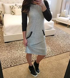 Planning on some online shopping today and a few errands. So I swapped out my sweats for a sweatshirt dress and wedge sneakers