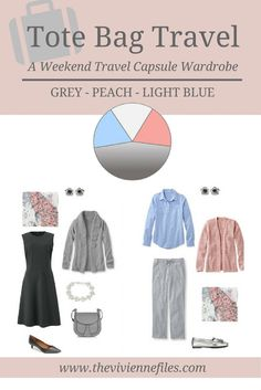 A travel capsule wardrobe a grey, peach, and light blue color palette