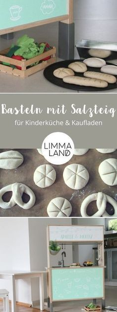 Basteln mit Salzteig: Zubehör für die Kinderküche und den Kaufladen Salt dough Ideas for children: We have made bread and pastries for children's kitchen and shop. Our little chefs are thrilled and now sell the best sandwiches with the salt dough pastry! Diy Para A Casa, Diy For Kids, Crafts For Kids, Chefs, Childrens Kitchens, Pan Relleno, Easy Crafts To Sell, Diy Toy Storage, Diy Bebe