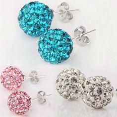 1 Paar Ohrstecker Ohrringe Ohrschmuck Kugel 925er Sterling Silber in 3 Farben