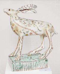 Ceramic by G Warne Title: 'The first hare, 'Blackbirds and Thrushes' Media: stoneware Size: 54 cms high approx
