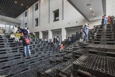 Tectonic Landscape is the artificial landscape fit to the exhibition space, Umi Hall, at Daegu Art Museum in Korea. The new landscape consists of. Daegu, Pallet Stairs, Pallet House, Diy Dresser Plans, Outdoor Gardens, Indoor Outdoor, Cool Mailboxes, Stair Spindles, Pallet Dog Beds