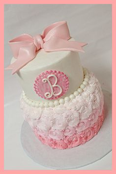 Pink ombré baby girl shower cake