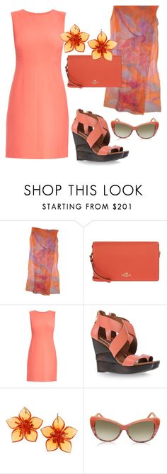 """""""Coral Sunset"""" by simply-one ❤ liked on Polyvore featuring Coach, Diane Von Furstenberg, Dsquared2 and Balenciaga"""