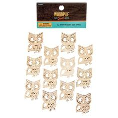 Laser Cut Adhesive Back Wooden Owls