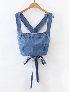 Sleeveless Denim Tops. Crop Top Decorated with Bow, Backless, Criss Cross. Designed with Straps. Perfect choice for Casual, Vacation, Sexy wear. Plain design. Trend of Spring-2018, Summer-2018. Designed in Blue.