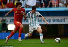 Held back: Messi was closely marked by the Belgium defence but still managed to produce magic moments