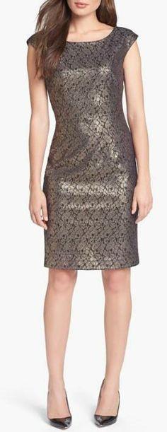 Gorgeous! Foiled Lace Sheath Dress
