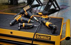 DeWalt has come out with a new line of air tools for the automotive industry including a ½-inch Impact Wrench, a Air Ratchet, a reversible drill, an Angle Die Grinder, and a Palm Sander. Woodworking Vacuum, Woodworking Supplies, Woodworking Bench, Woodworking Projects, Cheap Power Tools, Cool Tools, Dewalt Power Tools, Mobile Workshop, Tool Board