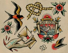 Nautical Tattoo Flash por ParlorTattooPrints en Etsy, $22.00
