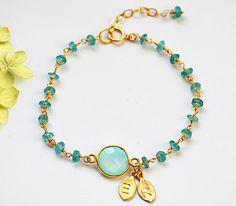 Personalized Seafoam Aqua Chalcedony Vermeil Gold bezel set hand stamped initial Apatite wire wrapped bracelet - bridesmaid wedding bracelet. $39.99, via Etsy.