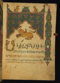 The lion of St Mark, symbol of the Evangelist, starts his gospel in this seventeenth-century Armenian gospel book; Amida Gospels, Ms W.541, fol. 71r. (Walters Museum)