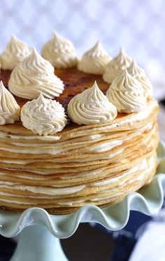 Layers and layers of lemon flavor packed into this easy to make Lemon Mascarpone Crepe Cake recipe. Perfect for Mother's Day! No Bake Desserts, Just Desserts, Dessert Recipes, Pancake Recipes, Waffle Recipes, Breakfast Recipes, Crepes, Cupcakes, Cupcake Cakes