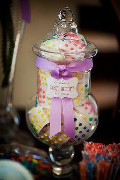 $2 DIY Candy Dots for Buffet! :  wedding blue buffet candy cheap diy dots green inspiration reception teal Wedding Candy Buffet 145