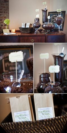 coffee bar the day after the wedding - or perfect setup for early morning bridal shower or baby shower