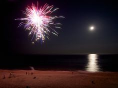 Fireworks and a Full Moon Over the Beach   Flickr - Photo Sharing!