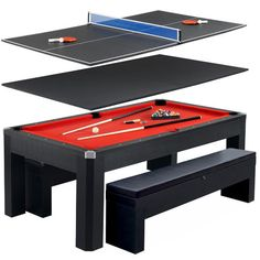 Hathaway™ Park Avenue 7 Foot Pool Table Tennis Combination With Dining Top,  Two