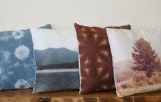 Poppytalk: DIY - Hand Dyed Shibori Pillows with Dharma Fiber Reactive Dyes Photo Pillows, Diy Pillows, Cushions, Custom Pillows, Throw Pillows, Do It Yourself Inspiration, Diy Inspiration, Diy Deco Rangement, Stitch Witchery