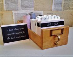 Wedding Guest Book Library Card Catalog - Personalized Blackboard Design with 400 inserts Wedding Advice, Diy Wedding, Wedding Ideas, Wedding Decor, Wishes For The Bride, High School Sweethearts, Library Card, I Got Married, Blackboards