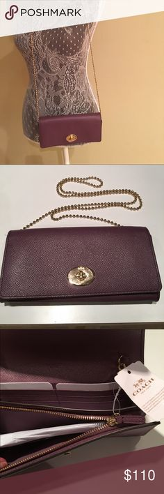 NWT COACH WALLET-STYLE CROSS-BODY NWT COACH WALLET-STYLE CROSS-BODY.  Purple with gold twist closure and beaded strap.  Inside zip compartments plus cash and card compartments.  Back has additional cash compartment.  Measures approximately 8.5 inches x 4.5 inches Coach Bags Crossbody Bags
