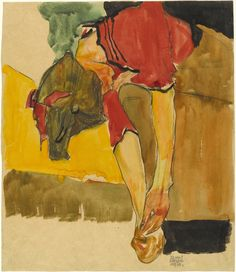 "terminusantequem: ""Egon Schiele (Austrian, 1890-1918), Girl Putting on Shoe, 1910. Watercolor and charcoal on paper, 36.8 x 31.8 cm """