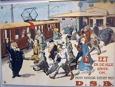 This poster in the DSB (Danish State Railway) Museum in Odense dates from 1934 and the opening of the København S-Ban or city railway system.    It shows a motley collection of passengers, one of which looks rather like Der Führer of Germany, and someone following him is carrying a valise labelled Argentina, which of course is where many of Herr Hitler's top followers fled to in 1945.