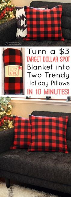 Turn A Three Dollar Target Blanket Into Festive Holiday Pillowsu2014this Would  Require A Sewing Machine Or It Will Take Longer Than 10 Minutes