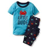 For child's safety, cotton pjs should always fit snugly. Cute crab and appliqués make these pjs just right for his bedtime.