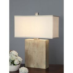 Latte Block Table Lamp with Cream Shade - Overstock™ Shopping - Great Deals on Table Lamps