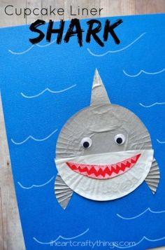 cupcake liner shark craft - ocean kid craft - crafts for kids- kid crafts - acraftylife.com #preschool