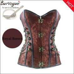 Free shipping Burvogue Corset Steel Boned Corset Top Steampunk Corset bustiers With Chain Gothic Bustier Brown/Black S-2XL $38.50 - 39.90