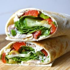 Greek Salad Wraps with Roasted Red Peppers
