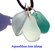 3  Drilled Sea Glass Pendants Teal Grey   And White Pendants by aquablueseaglass, $18.99