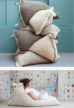 An idea for a pouf. Arm Knitting, Knitting Patterns, Knitting Ideas, Crochet Home, Knit Crochet, Knitted Pouf, Knitting Projects, Sewing Projects, Objet Deco Design