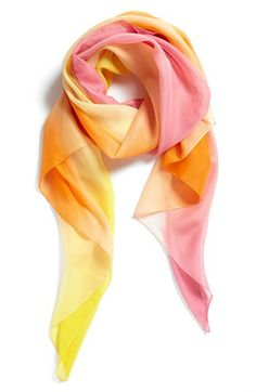"Nordstrom Ombré Scarf (in Orange/Yellow) (Nordstrom) (38"" W x 61"" L; 100% polyester; hand wash cold, lay flat to dry; made in Italy)"