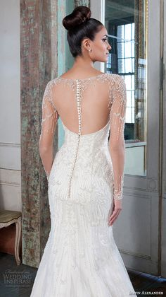 Justin Alexander Signature Spring 2016 Wedding Dresses | Wedding Inspirasi | Amazing Illusion Long Sleeve Mermaid Bridal Gown Featuring An Illusion Beaded Bateau Neckline, Embroidered Beading/Embellishments Throughout Gown, Chapel Length Tulle Train·····