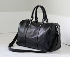 Black leather duffle bag black leather carry all by Adeleshop