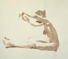 Wendy Artin. Marzia reaching, watercolor on paper