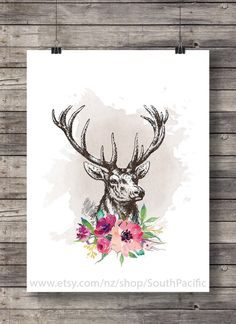 Watercolor deer stag flower floral antlers garland shabby chic rustic fall autumn poster printable - Instant download A very dignified-looking stag, who doesn't seem at all bothered by the fact that his antlers are decorated with flowers! I think he's secretly amused. 16x20 file included. Fine to print at A3, A4, 8x10 or anything smaller. ____________________________ Print as many times as you like, fine for personal and small commercial use. -------------------------------------------...