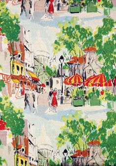 Montmartre | Screen-printed linen by Pollet, 1954 | A blank greetings card featuring a design from the Warner Textile Archive, Braintree, Essex #England #UK