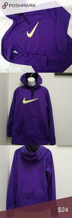 Nike Women's Therma-Fit Like New without tags Nike Therma-Fit Size Large  Soft fleece inside Thumb holes  Mesh plum colored hood and drawstrings Purple with Neon yellow logo Nike Tops Sweatshirts & Hoodies