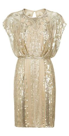JENNY PACKHAM Embellished Butterfly Sleeve Dress. Art Deco wedding or engagement party??