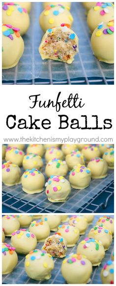 A funfetti treat for kids and adults alike ... Funfetti Cake Balls! www.thekitchenismyplayground.com