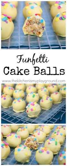A funfetti treat for kids and adults alike ... Funfetti Cake Balls! www.thekitchenismyplayground.com