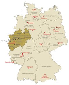 Map of North RhineWestphalia with cities and towns Maps